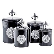 Old Dutch Black Stainless Steel Fleur-de-lis 4 qt., 2 qt., 1 qt., and 1 qt. 4-pi