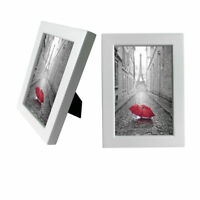 """Wooden Photo Frame Picture Frame with Real Glass Home Desk Decor 4X6"""" 2pcs White"""