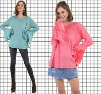 PLUS XL 1XL 2XL UMGEE CORAL or TEAL Trumpet Sleeve Knit Top/Blouse/Shirt  BHCS