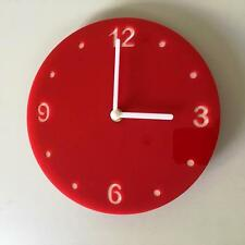 Round Red & White Clock (white Backed) white Hands, Silent Sweep Movement