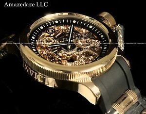Invicta Men Mechanical Skeleton Russian Diver Rose Tone Stainless Steel Watch !!