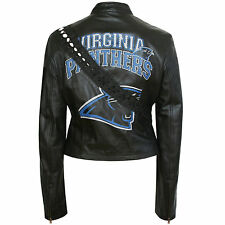 DOLCE & GABBANA D&G leather cut out lace up Virginia Panthers moto jacket 42 / 6