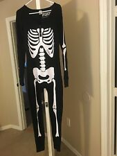 Victoria's Secret PINK Skeleton one piece thermal Long Waffle Knit~Black~Sz M