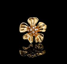 Diamond Flower Pin 14K Yellow Gold and