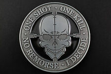 GAMER SKULL BELT BUCKLE METAL ONE SHOT ONE KILL GAME SKULL
