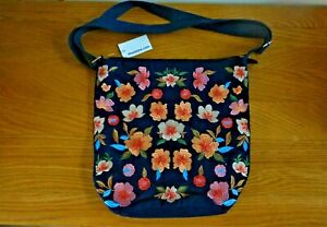 Ladies Light Weight Cotton Tote/ Shopper- Navy -Embroidered Flowers- NEW