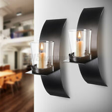 One Pair Metal Candle Holder Black Wall Mounted Sconce Glass Cup Home Decoration