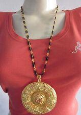 Long Necklace Pendant Brass Gold Statement Boho India Bollywood Festival Rave