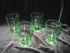 Green Depression Glass Set Of 4 Juice Glasses
