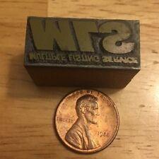 Vintage SRW Or S7W Printers Block Stamp Typeset Ink Brass Wood