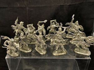 """Lot Of 12 Vintage Timpo Type Warriors Knights Persians Silver Plastic 2 1/4"""""""