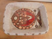 Céramique Vintage 60 Plat Rectangle Poisson GM grès Frères Picard VALLAURIS