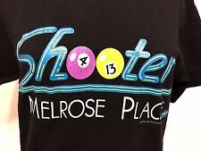 VTG 90s MELROSE PLACE SHOOTERS BAR AND GRILL WOMENS BLACK TSHIRT SPELLING TV A12