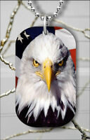 BALD EAGLE AMERICAN FLAG #2 DOG TAG PENDANT NECKLACE FREE CHAIN -h3jc