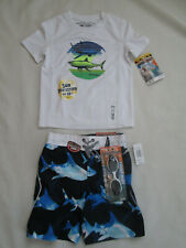 BOYS ZEROXPOSUR SWIM TOP AND SHORTS UPF SUN PROTECTION SHARK BEACH MEDIUM 5/6