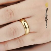 18K Gold plated Polished Stainless Steel Wedding Engagement Band Rings