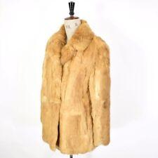 Women's VTG 70s Brown Cream REAL CONEY RABBIT FUR Boho Party Glam Wedding Coat L