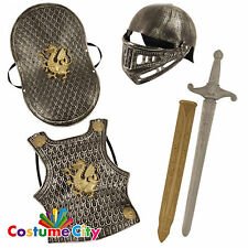 Childs Boys Medieval Knight Armour & Sword Fancy Dress Costume Accessory Set
