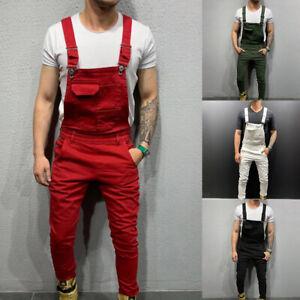 Men Plain Dungarees Overalls Long Jumpsuit Romper Bib Cargo Pants Casual Trouser