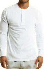 Men's Long Sleeve Henley 3 Button Pullover Cotton T-Shirt Crew Neck