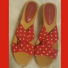 Bandolino Red Polka Dot Slip on Shoes Sandals Mules as 10m Vintage Plastic new