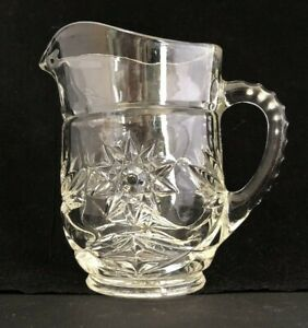 Vintage Clear Glass Star of David Anchor Hocking Prescut Creamer Small Pitcher