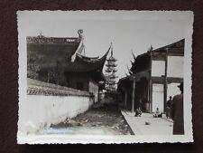 LOOKING DOWN STREET AT CHINESE BUILDINGS &  PAGODA VTG 1934 CHINA PHOTO