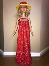 My size barbie clothes -36 inch- colorful maxi dress with matching hat