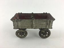 "Vintage Hubley Cast Iron Wagon red gray 4"" (broken Wheel)"