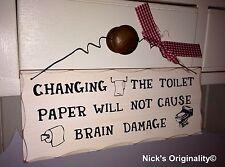 Funny Bathroom Changing Toilet Paper Wall Plaque Door Sign Ornament