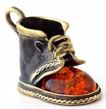 Brass Shoe Miniature Figurine Honey Baltic Amber Boot Pendant Russian Souvenir
