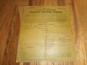 RARE Vintage 1910 LA CROSSE COUNTY WISCONSIN WI RESIDENT PAPER HUNTING LICENSE