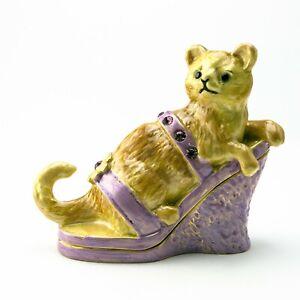 Cat Faberge Trinket Box Handmade by Keren Kopal Austrian  Crystals
