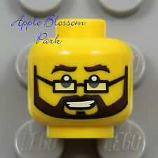 NEW Lego Male MINIFIG HEAD w/Brown Beard Moustache Old Man Eye Glasses - Police