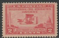 Scott# 649 - 1928 Commemoratives - 2 cents Interl Civil Aeronautics Wright Plane