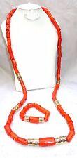 Uomini Tradizionale lunga perline di corallo africana Nigeriana Collana Bracciale Gioielli