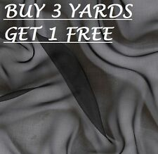 Premium Plain Black Chiffon Georgette Dress-Making Crafts Fabric Material