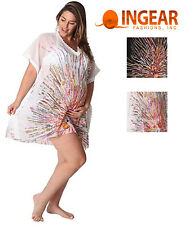 Ingear Womens Maternity Sheer Square Lace Tunic Swimsuit Cover Up Dress-One Size