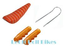 "PACKAGE: 20"" SPARKLE ORANGE BANANA SEAT 24"" long SISSYBAR GRIPS LOWRIDER BIKES"