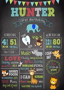 First Birthday Milestone Chalkboard Birthday Print Jungle zebra lion elephant
