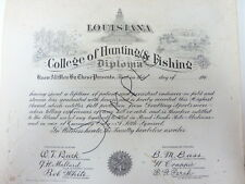 Faux diploma COLLEGE OF HUNTING AND FISHING 1940s retro birthday gift YESSSS!!!!
