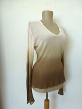 Top Aida Barni Cotton Mesh V-Neck LongSleeve Lt Pink to Cocoa L