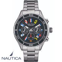 Nautica NAD14536G Flags Chronograph schwarz Edelstahl Armband Uhr Herren NEU