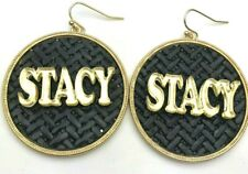 Gold and Black Earrings Personalized Custom Unique Name Plate LaserCut Stunning
