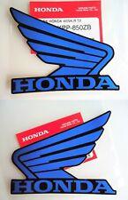 2 x Honda Fuel Tank Wing Decals BLUE / BLACK Wings Sticker CBR CRF MBX 100x80mm