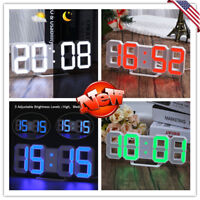 Digital 3D Modern LED Wall Clock Alarm Snooze Timer 12/24 Hour Clock Night Light