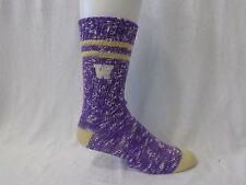 Washington Huskies NCAA Alpine Crew Socks Purple and Gold Heel and Toe Logo Leg