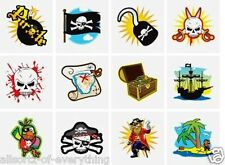 24 Pirate Temporary TATTOOS Boys Party Bag Fillers Childrens Kids Fete