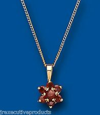Garnet Pendant Garnet Necklace Garnet Cluster Pendant Yellow Gold Garnet Pendant