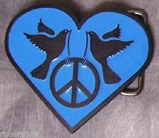 Pewter Belt Buckle novelty Peace Heart blue NEW
